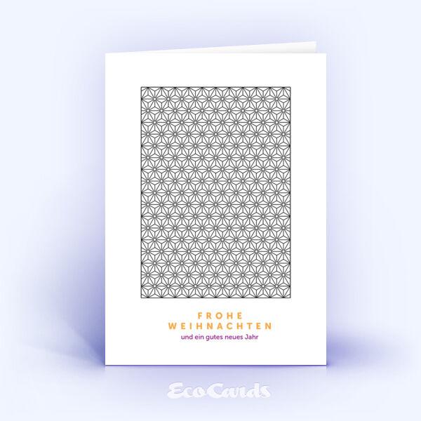 Öko Weihnachtskarten Nr. 851 grau mit einem Muster aus kleinen Sternen sind mit einem exklusiven Motiv bedruckt.
