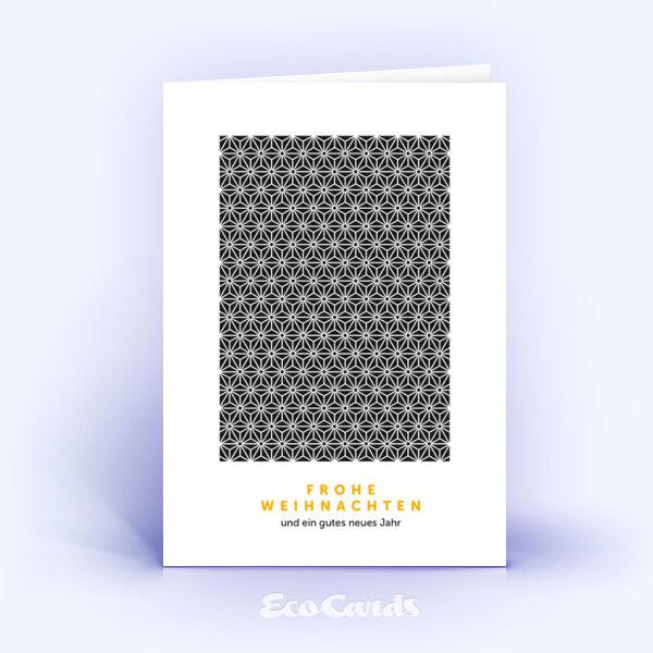 Öko Weihnachtskarten Nr. 853 schwarz mit Sternen-Muster zeigen ein modernes Design.