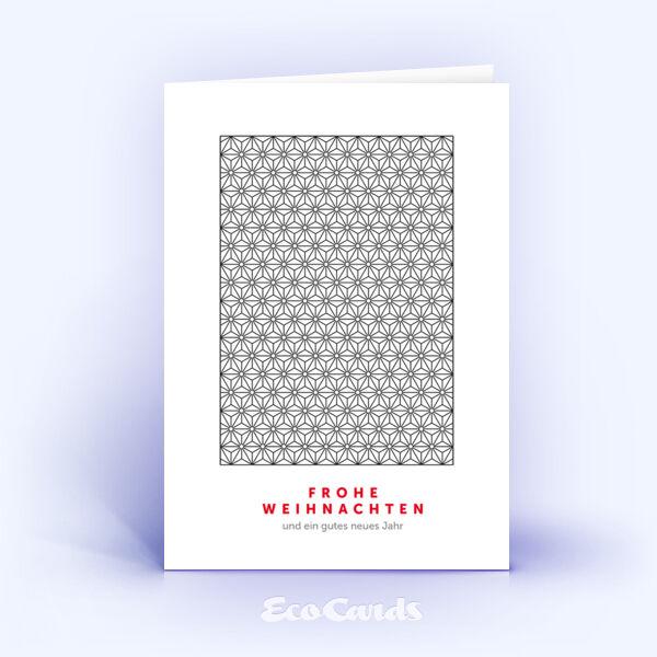 Öko Weihnachtskarten Nr. 855 schwarz mit einem Muster aus Sternen zeigen ein klassisches Layout.