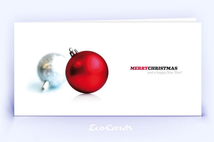 Öko Weihnachtskarte Nr. 86 rot mit Christbaumkugeln zeigt eine abstrakte Gestaltung.
