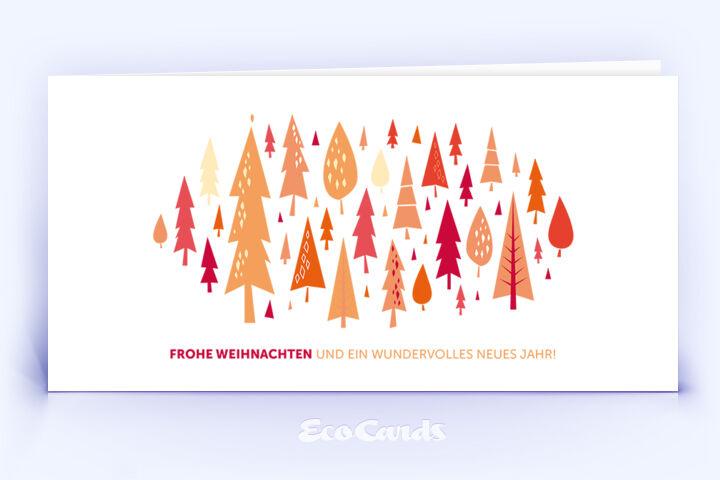 Öko Weihnachtskarte Nr. 878 rot mit einem Christbaum zeigt ein stylishes Layout.