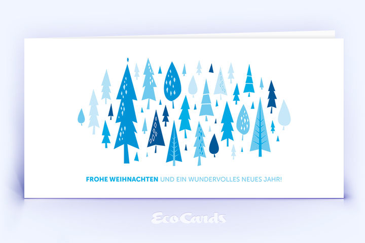 Öko Weihnachtskarte Nr. 880 blau mit Christbaum ist mit einem schönen Design bedruckt.