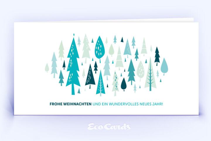 Öko Weihnachtskarte Nr. 882 tuerkis mit einem Weihnachtsbaum zeigt ein ausgefallenes Kartenmotiv.