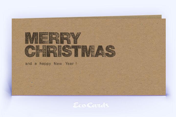 Öko Weihnachtskarte Nr. 886 naturfarben mit typografisch gestaltetem Weihnachtsgruß ist mit einem ausgefallenen Layout bedruckt.