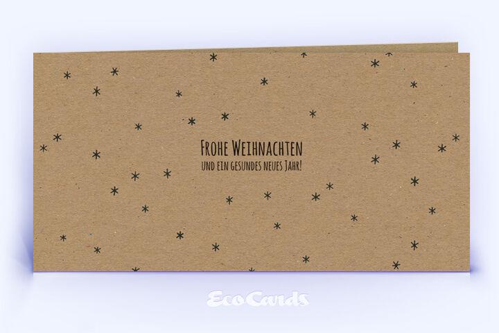 Öko Weihnachtskarte Nr. 888 naturfarben mit einem Muster aus vielen Sternen ist mit einem festlichen Design bedruckt.