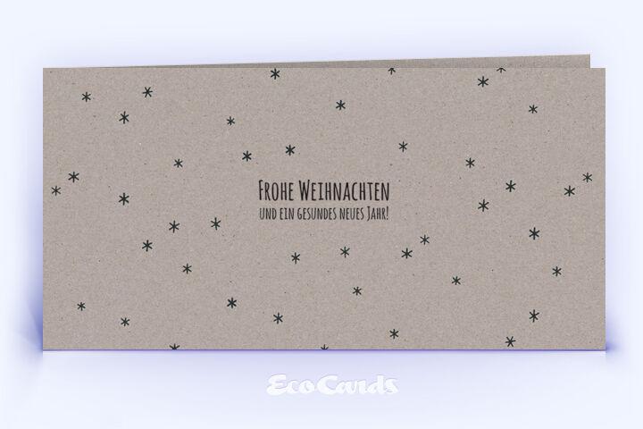 Öko Weihnachtskarte Nr. 890 grau mit einem Muster aus kleinen Sternen zeigt ein individuelles Design.