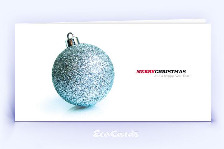 Öko Weihnachtskarte Nr. 90 silber mit einer Christbaumkugel zeigt eine edle Anmutung.