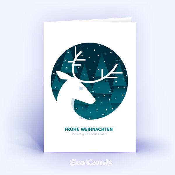 Öko Weihnachtskarten Nr. 911 tuerkis mit Hirsch Silhouette sind mit einem individuellen Design bedruckt.