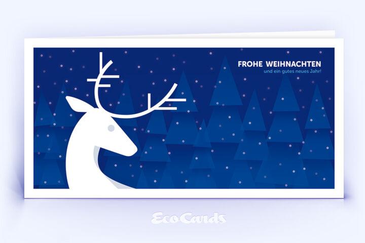 Öko Weihnachtskarte Nr. 912 blau mit Hirsch zeigt ein exklusives Motiv.