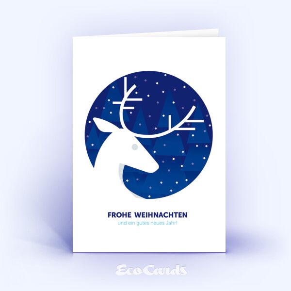 Weihnachtskarte Nr. 913 dunkelblau mit Hirschmotiv