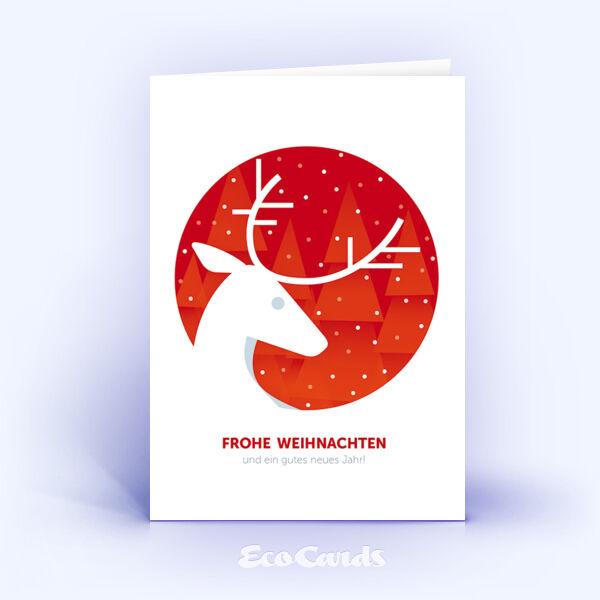 Öko Weihnachtskarten Nr. 915 rot mit Hirsch zeigen ein schönes Kartenmotiv.