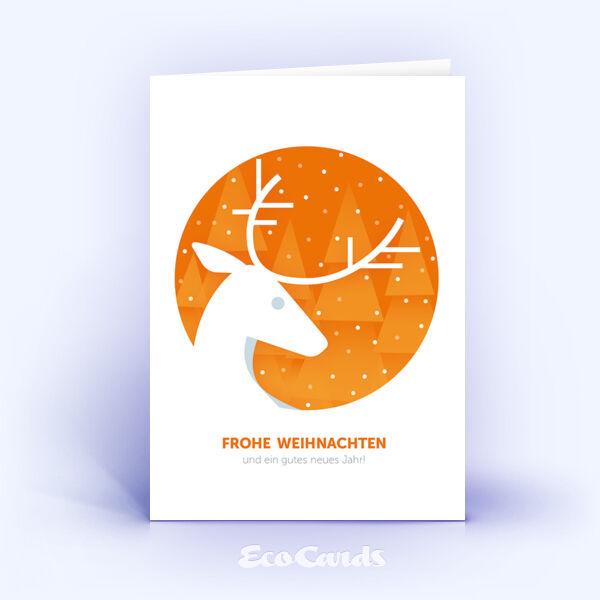 Öko Weihnachtskarten Nr. 917 orange mit Hirsch zeigen ein ausgefallenes Layout.