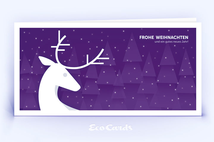 Öko Weihnachtskarte Nr. 918 violett mit Hirsch zeigt ein ausgefallenes Motiv.