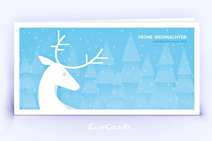 Öko Weihnachtskarte Nr. 920 hellblau mit Hirsch zeigt ein schönes Kartenmotiv.