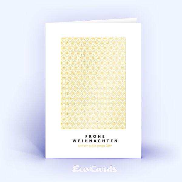 Öko Weihnachtskarten Nr. 925 gold mit einem Muster aus Sternen sind mit einem ausgefallenen Layout bedruckt.