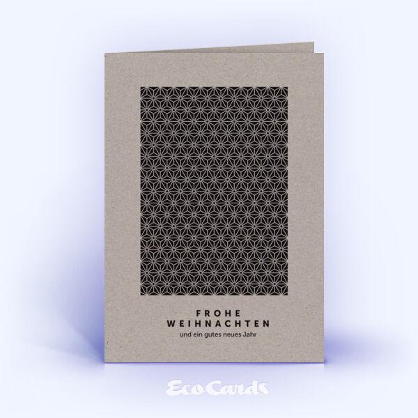 Öko Weihnachtskarten Nr. 931 grau mit Sternen-Muster sind mit einem individuellen Kartenmotiv bedruckt.