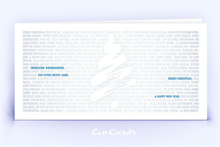 Öko Weihnachtskarte Nr. 932 blau mit Weihnachtsbaum ist mit einem modernen Design bedruckt.