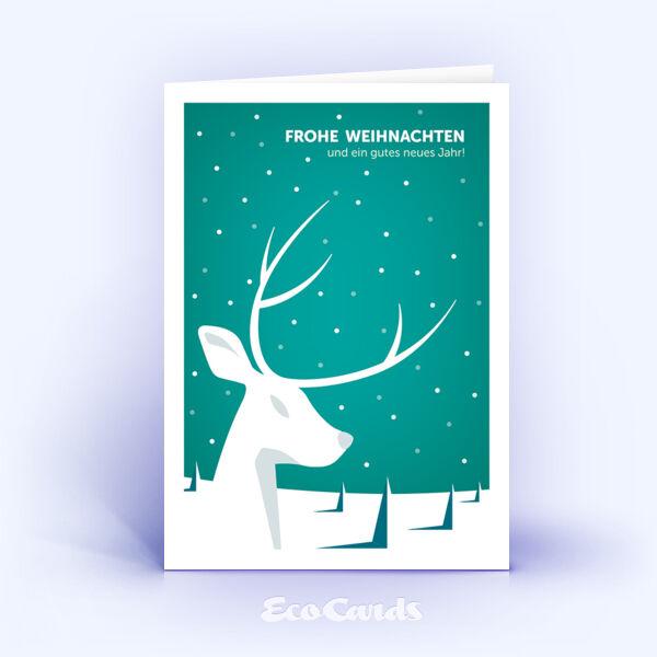 Öko Weihnachtskarten Nr. 935 tuerkis mit Hirsch zeigen ein schönes Motiv.