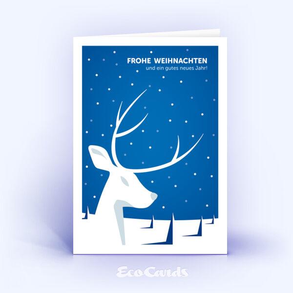 Öko Weihnachtskarten Nr. 937 blau mit Hirsch Silhouette sind mit einem exklusiven Kartenmotiv bedruckt.