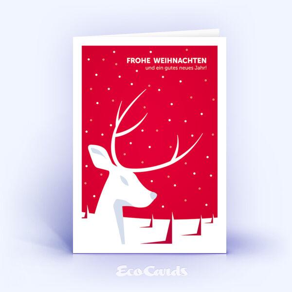 Öko Weihnachtskarten Nr. 939 rot mit Hirschmotiv sind mit einem edlen Motiv bedruckt.