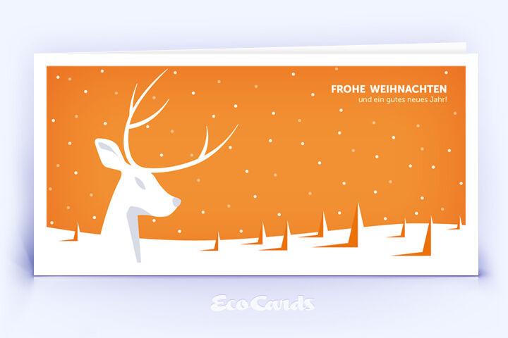 Öko Weihnachtskarte Nr. 940 orange mit Hirsch Silhouette ist mit einem schönen Motiv bedruckt.