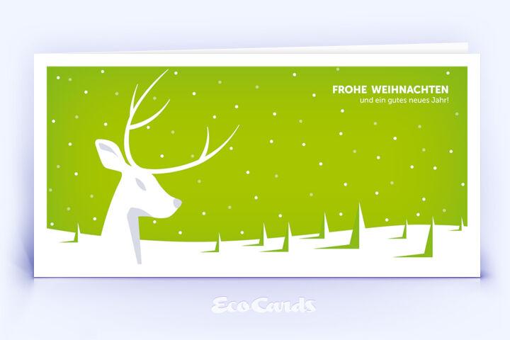 Öko Weihnachtskarte Nr. 942 gruen mit Hirsch Illustration zeigt ein individuelles Motiv.