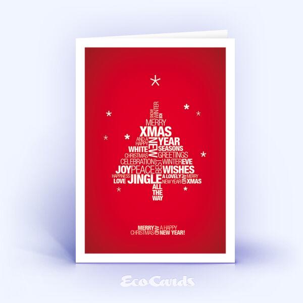Weihnachtskarte Nr. 943 rot mit einem typografischem Motiv