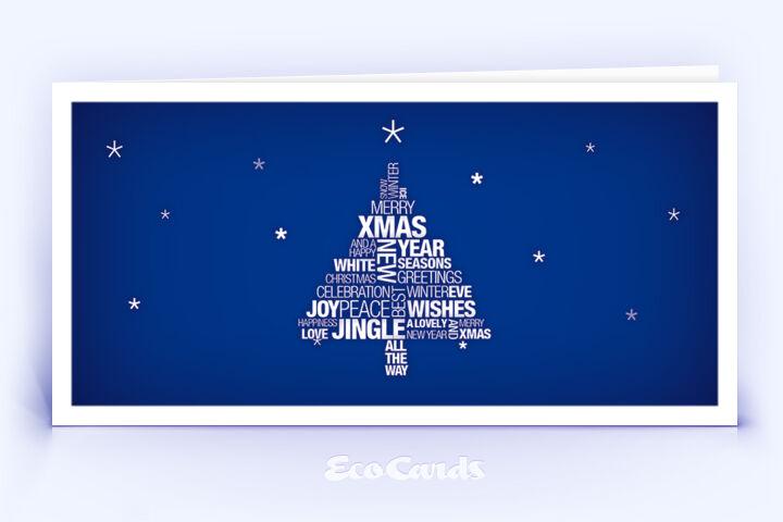 Öko Weihnachtskarte Nr. 944 blau mit Christbaum zeigt ein klassisches Design.