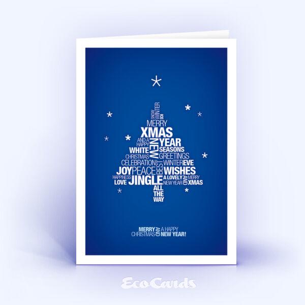 Öko Weihnachtskarten Nr. 945 blau mit typografischem Weihnachtsgruß sind mit einem edlen Layout bedruckt.