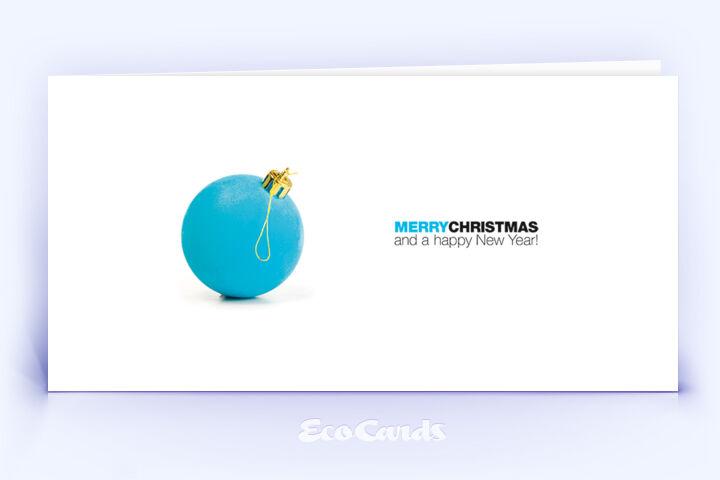 Öko Weihnachtskarte Nr. 950 blau mit einer Christbaumkugel ist mit einem individuellen Kartendesign versehen.