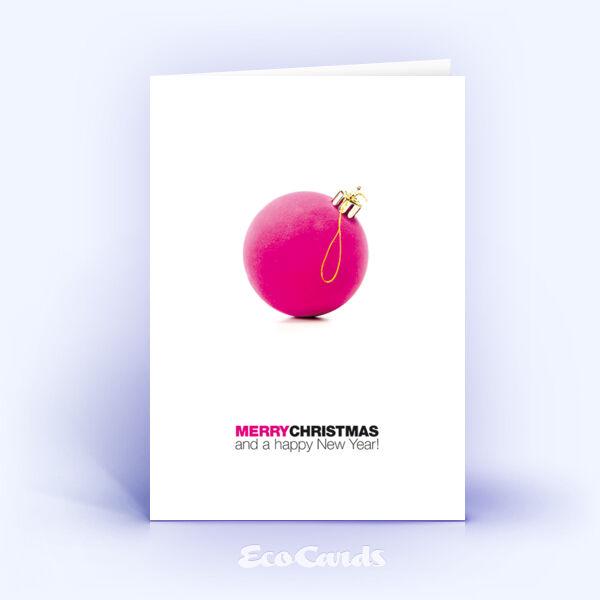 Öko Weihnachtskarten Nr. 951 pink mit einer Weihnachtskugel zeigen eine originelle Gestaltung.