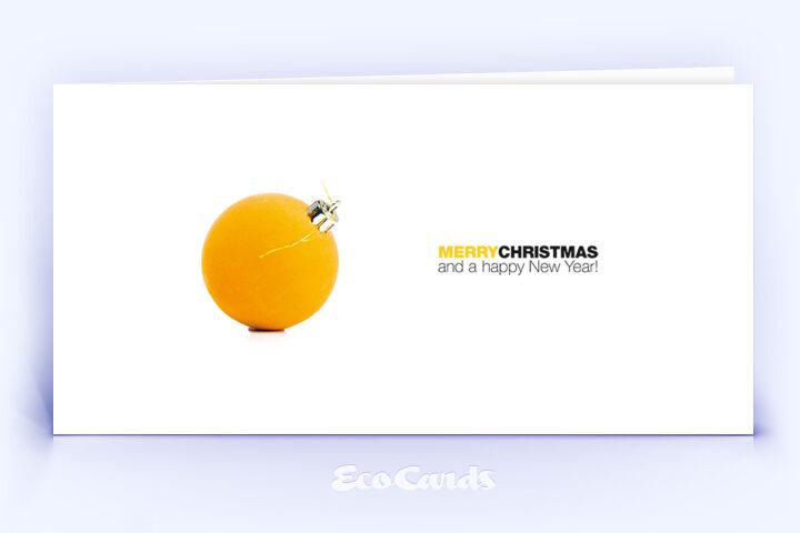 Öko Weihnachtskarte Nr. 954 gelb mit Christbaumkugel zeigt ein stilvolles Motiv.