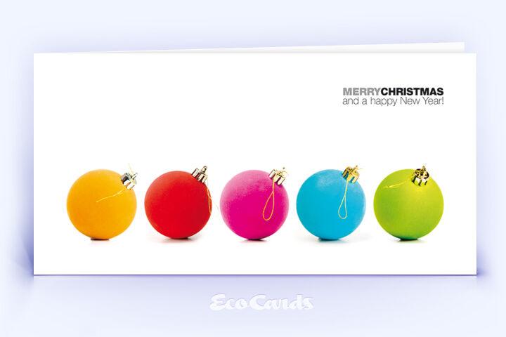 Öko Weihnachtskarte Nr. 958 weiss mit Weihnachtskugeln ist mit einem exklusiven Motiv versehen.