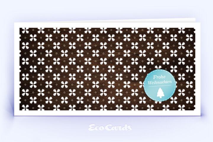 Öko Weihnachtskarte Nr. 964 braun mit Muster aus mehreren Weihnachtsbäumen zeigt ein individuelles Motiv.