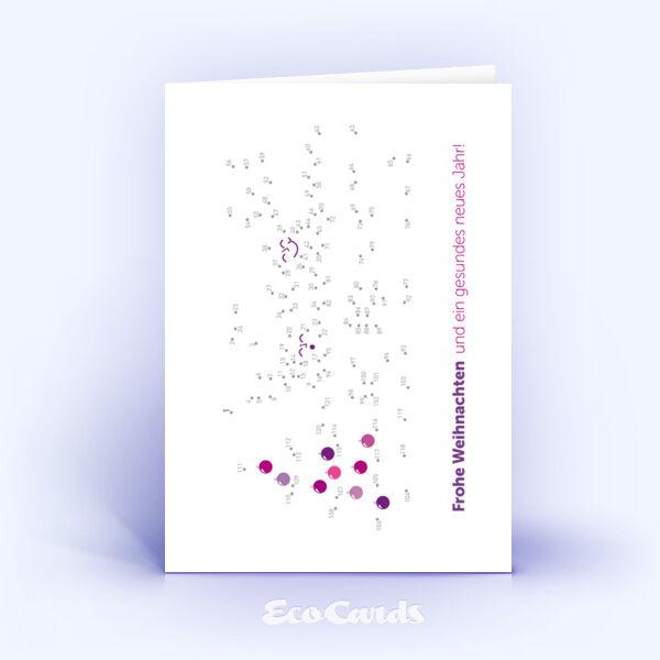 Öko Weihnachtskarten Nr. 979 violett mit einem kreativen Weihnachtsrätsel zeigen ein originelles Design.