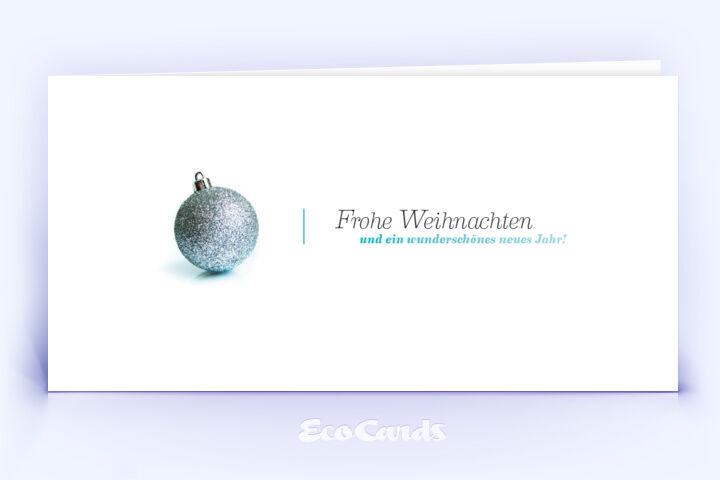 Öko Weihnachtskarte Nr. 98 silber mit einer Christbaumkugel ist mit einem klassischen Kartenmotiv versehen.