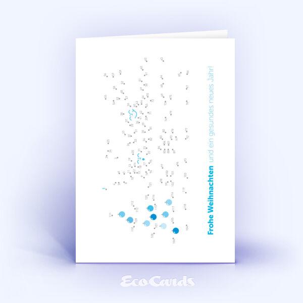 Öko Weihnachtskarten Nr. 981 hellblau mit einem kreativen Weihnachtsrätsel sind mit einem kreativen Motiv versehen.
