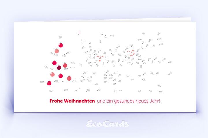 Öko Weihnachtskarte Nr. 982 rot mit einem originellen Weihnachtsrätsel ist mit einem individuellen Motiv versehen.
