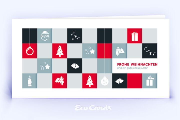 Öko Weihnachtskarte Nr. 994 rot mit einer handgefertigten Zeichnung ist mit einem ausgefallenen Design bedruckt.