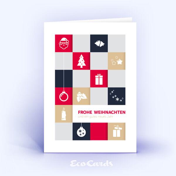 Öko Weihnachtskarten Nr. 995 rot mit handgemalter Zeichnung zeigen eine exklusive Gestaltung.