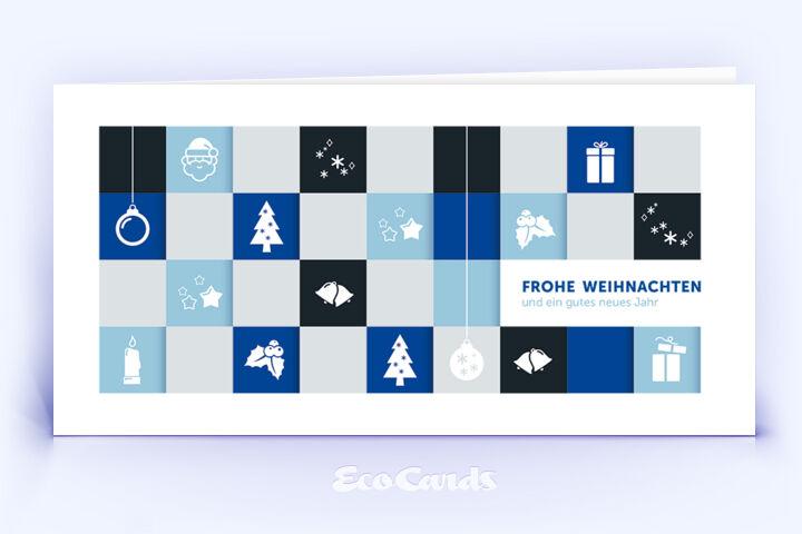 Öko Weihnachtskarte Nr. 996 blau mit Zeichnung ist mit einem edlen Layout bedruckt.